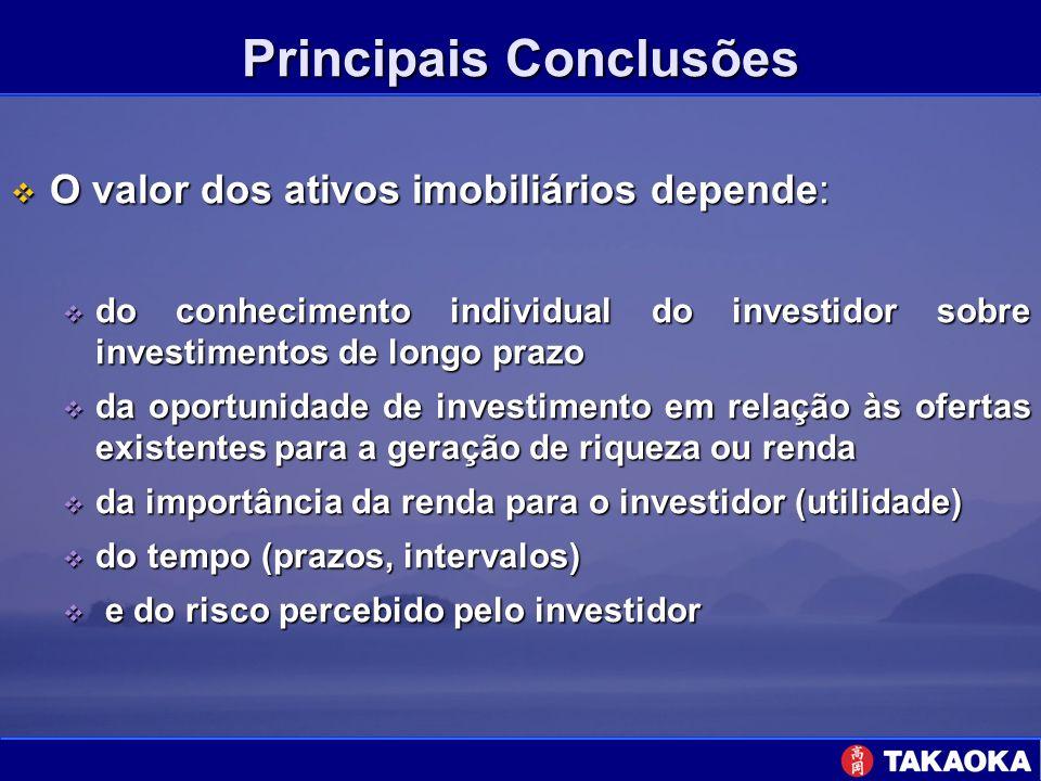 Principais Conclusões O valor dos ativos imobiliários depende: O valor dos ativos imobiliários depende: do conhecimento individual do investidor sobre