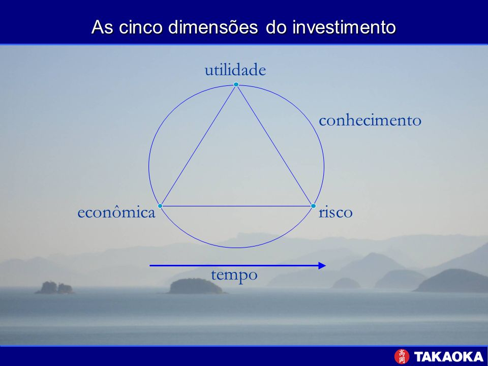 As cinco dimensões do investimento - Utilidade tempo desejos necessidades aspirações sociedade Renda / Riqueza Segurança Conhecimento Prazo / intervalos