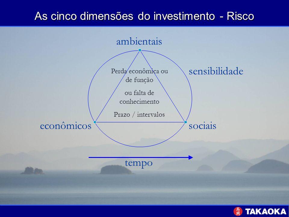 As cinco dimensões do investimento - Risco tempo sociais econômicos ambientais sensibilidade Perda econômica ou de função ou falta de conhecimento Pra