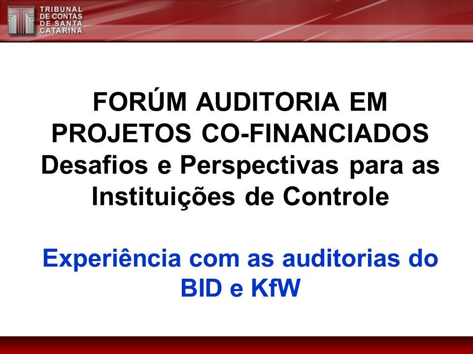 FORÚM AUDITORIA EM PROJETOS CO-FINANCIADOS Desafios e Perspectivas para as Instituições de Controle Experiência com as auditorias do BID e KfW