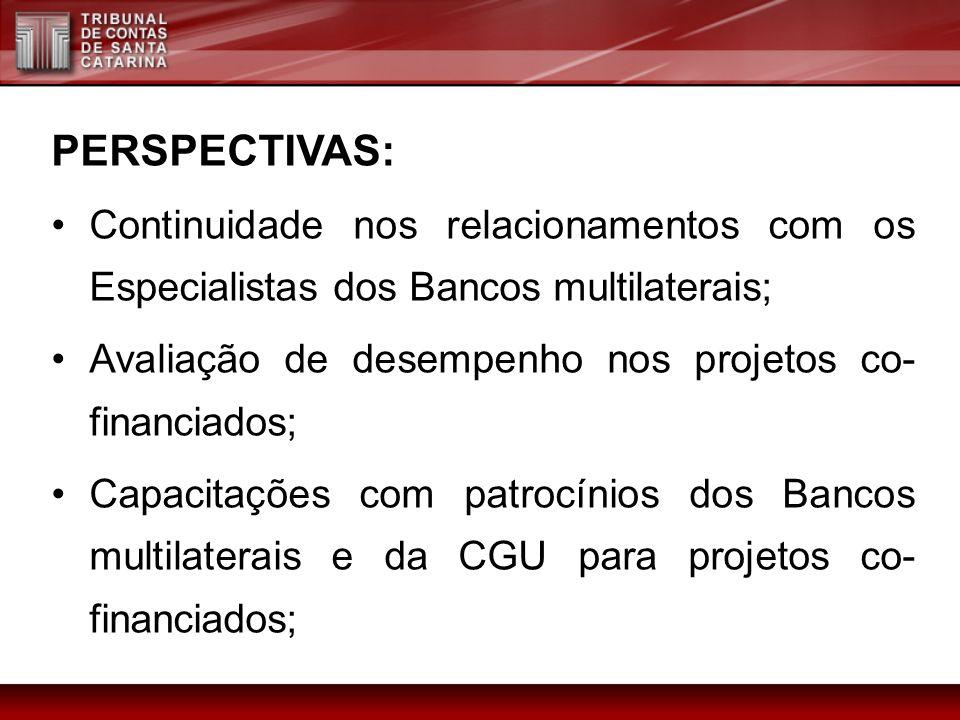PERSPECTIVAS: Continuidade nos relacionamentos com os Especialistas dos Bancos multilaterais; Avaliação de desempenho nos projetos co- financiados; Ca