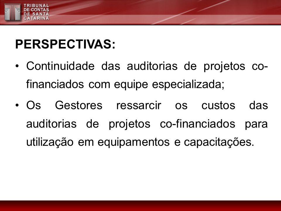 PERSPECTIVAS: Continuidade das auditorias de projetos co- financiados com equipe especializada; Os Gestores ressarcir os custos das auditorias de proj