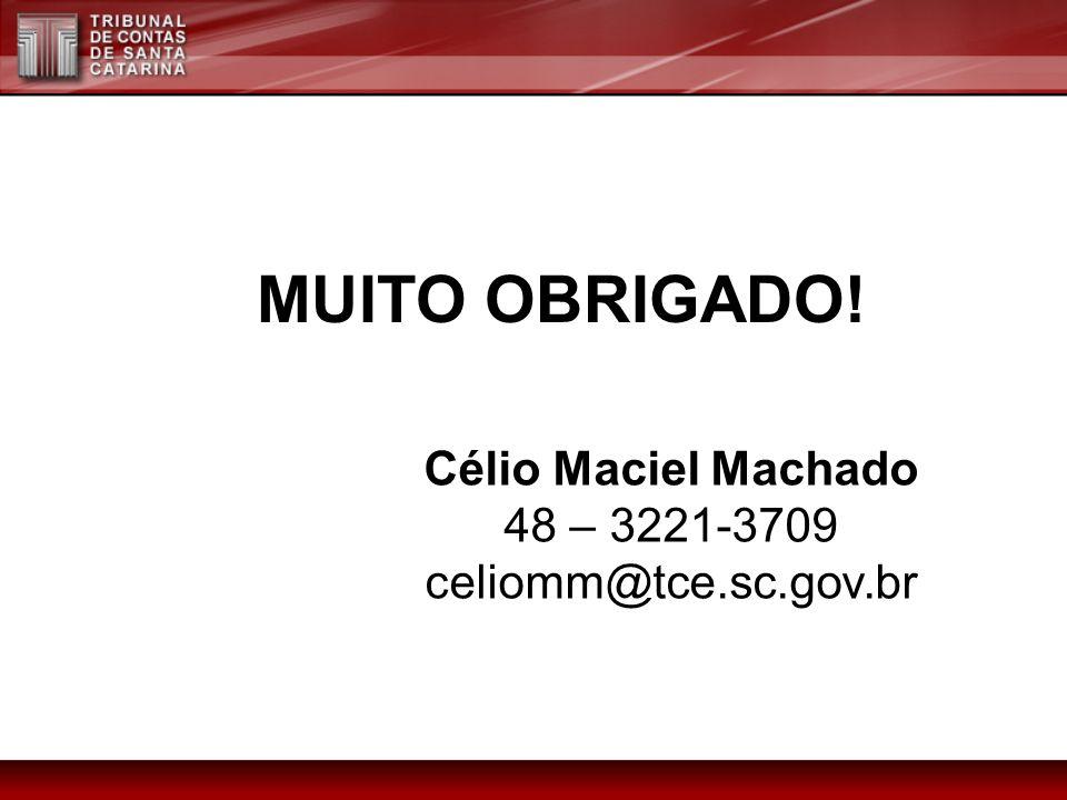 MUITO OBRIGADO! Célio Maciel Machado 48 – 3221-3709 celiomm@tce.sc.gov.br