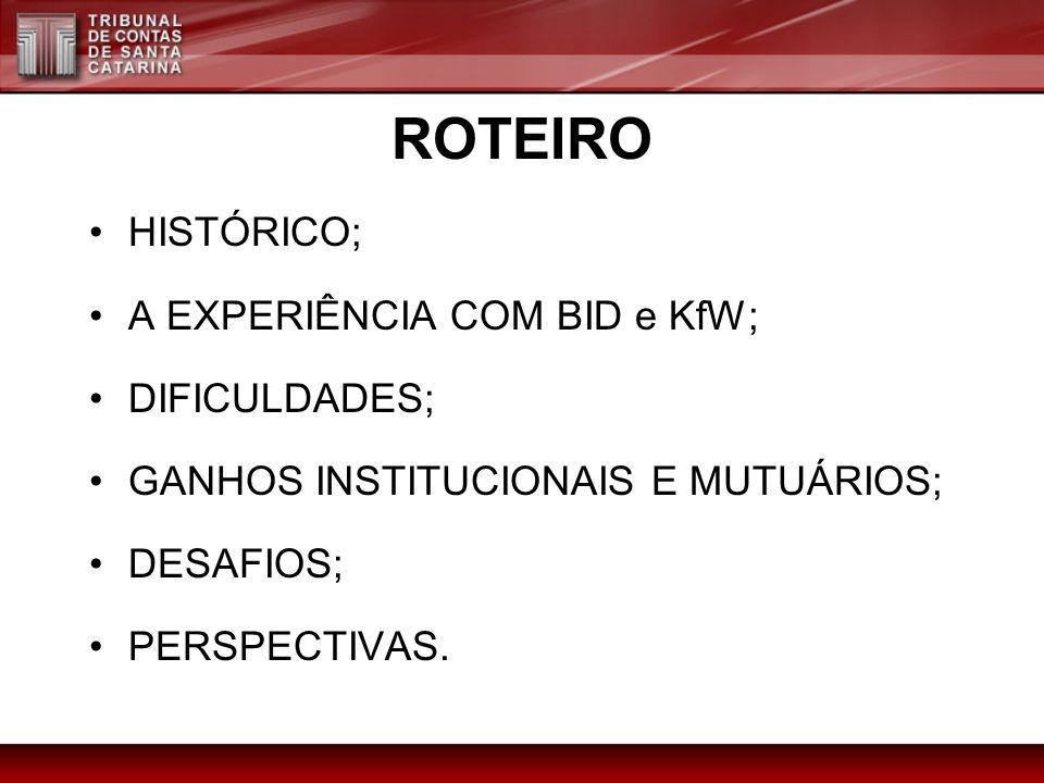 ROTEIRO HISTÓRICO; A EXPERIÊNCIA COM BID e KfW; DIFICULDADES; GANHOS INSTITUCIONAIS E MUTUÁRIOS; DESAFIOS; PERSPECTIVAS.