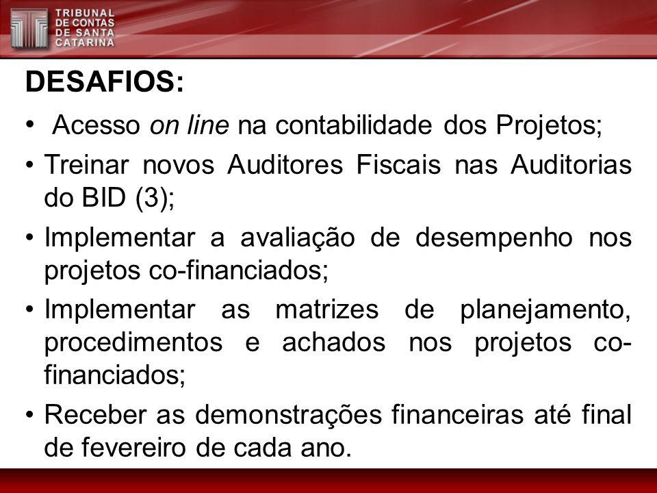 DESAFIOS: Acesso on line na contabilidade dos Projetos; Treinar novos Auditores Fiscais nas Auditorias do BID (3); Implementar a avaliação de desempen