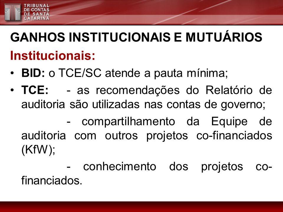 GANHOS INSTITUCIONAIS E MUTUÁRIOS Institucionais: BID: o TCE/SC atende a pauta mínima; TCE: - as recomendações do Relatório de auditoria são utilizada