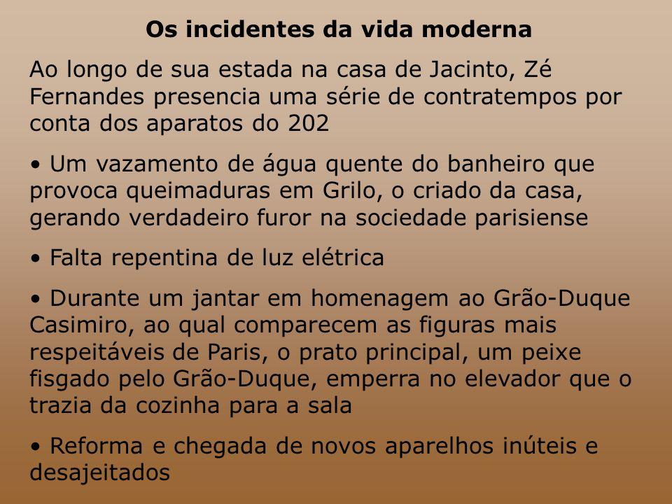 Os incidentes da vida moderna Ao longo de sua estada na casa de Jacinto, Zé Fernandes presencia uma série de contratempos por conta dos aparatos do 20
