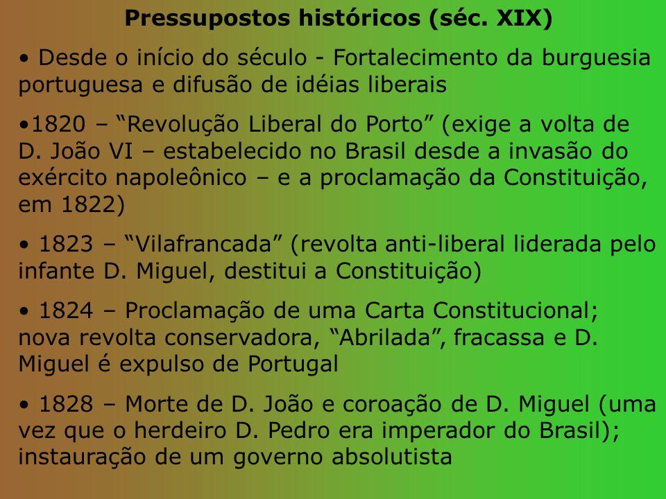 Pressupostos históricos (séc. XIX) Desde o início do século - Fortalecimento da burguesia portuguesa e difusão de idéias liberais 1820 – Revolução Lib