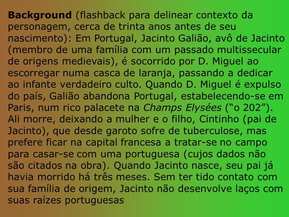 Background (flashback para delinear contexto da personagem, cerca de trinta anos antes de seu nascimento): Em Portugal, Jacinto Galião, avô de Jacinto