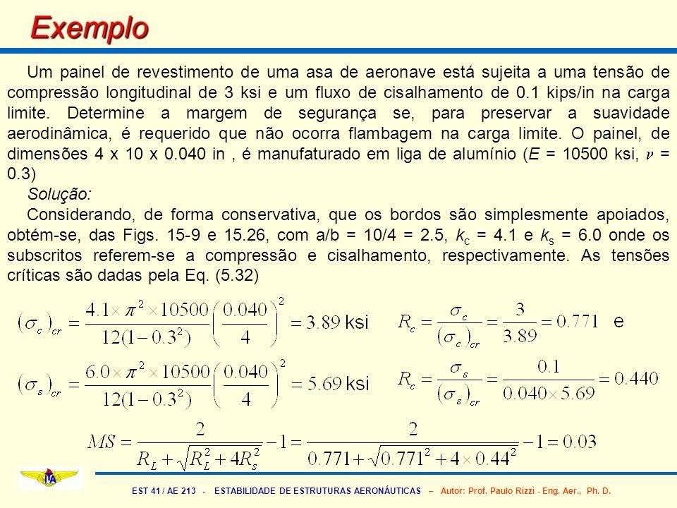 EST 41 / AE 213 - ESTABILIDADE DE ESTRUTURAS AERONÁUTICAS – Autor: Prof. Paulo Rizzi - Eng. Aer., Ph. D. Exemplo Um painel de revestimento de uma asa