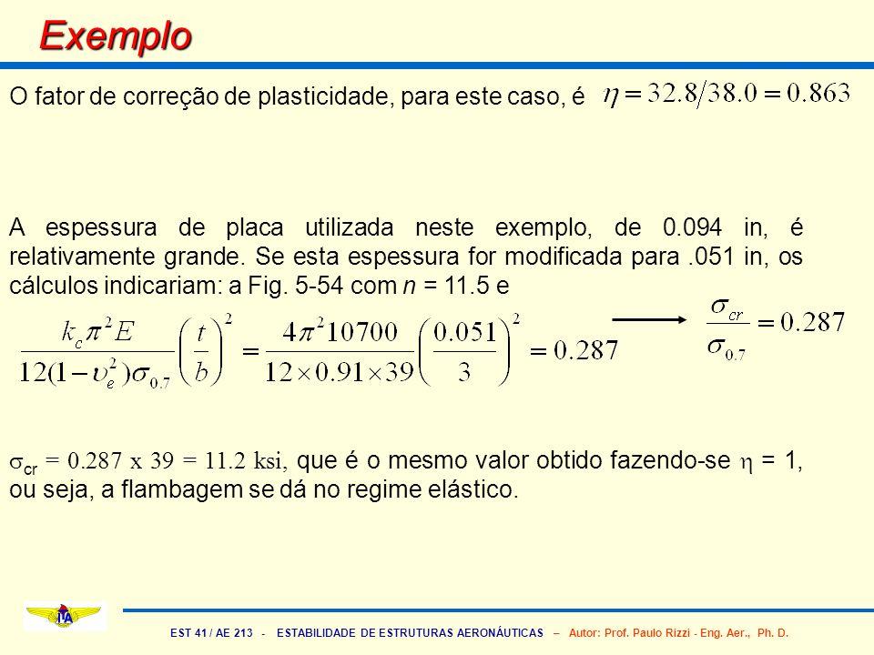 EST 41 / AE 213 - ESTABILIDADE DE ESTRUTURAS AERONÁUTICAS – Autor: Prof. Paulo Rizzi - Eng. Aer., Ph. D. Exemplo O fator de correção de plasticidade,