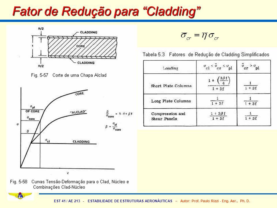 EST 41 / AE 213 - ESTABILIDADE DE ESTRUTURAS AERONÁUTICAS – Autor: Prof. Paulo Rizzi - Eng. Aer., Ph. D. Fator de Redução para Cladding