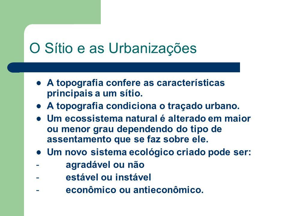 O Sítio e as Urbanizações A topografia confere as características principais a um sítio.
