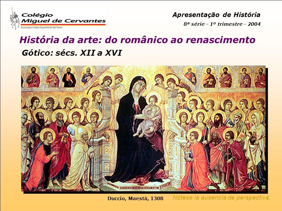 Apresentação de História 8ª série - 1º trimestre - 2004 História da arte: do românico ao renascimento Gótico: sécs.