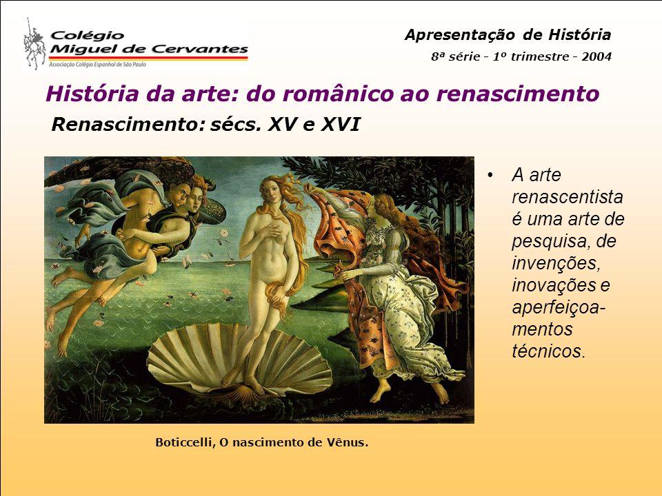 Apresentação de História 8ª série - 1º trimestre - 2004 História da arte: do românico ao renascimento Renascimento: sécs.