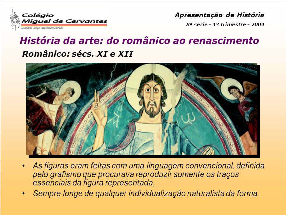 Apresentação de História 8ª série - 1º trimestre - 2004 História da arte: do românico ao renascimento Românico: sécs.
