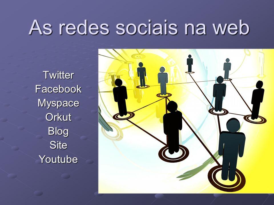 TwitterFacebookMyspaceOrkutBlogSiteYoutube As redes sociais na web