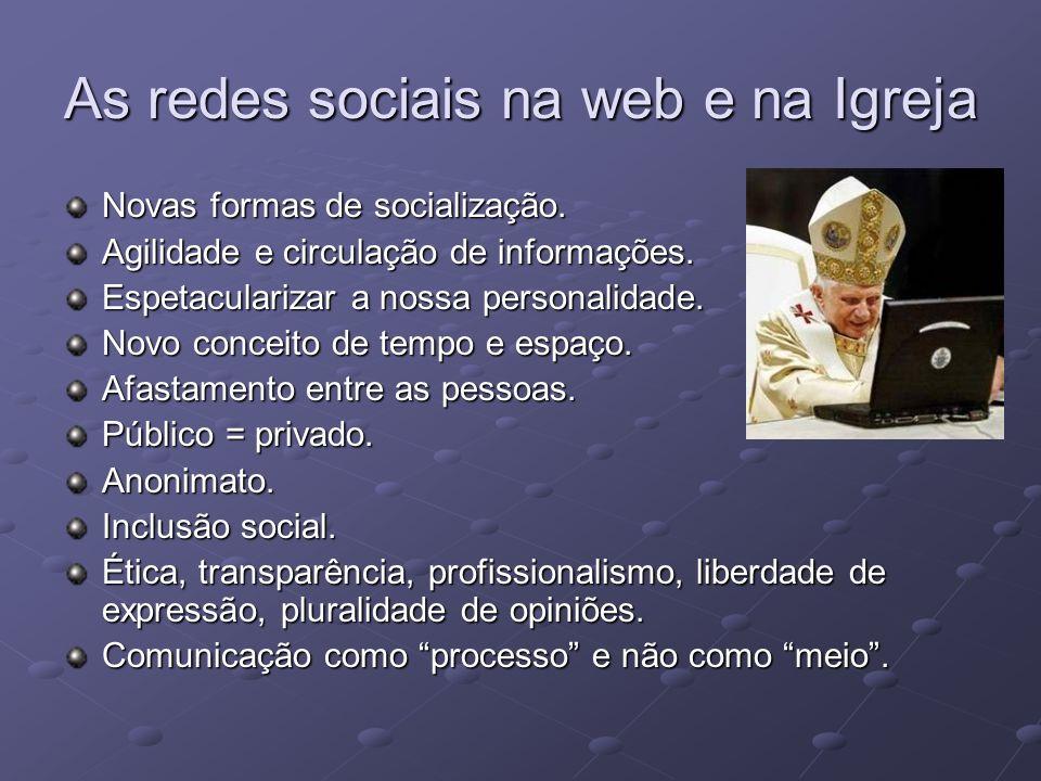 As redes sociais na web e na Igreja Novas formas de socialização. Agilidade e circulação de informações. Espetacularizar a nossa personalidade. Novo c