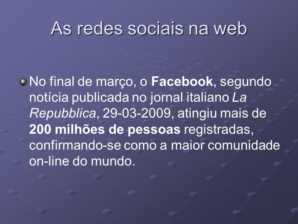 No final de março, o Facebook, segundo notícia publicada no jornal italiano La Repubblica, 29-03-2009, atingiu mais de 200 milhões de pessoas registra