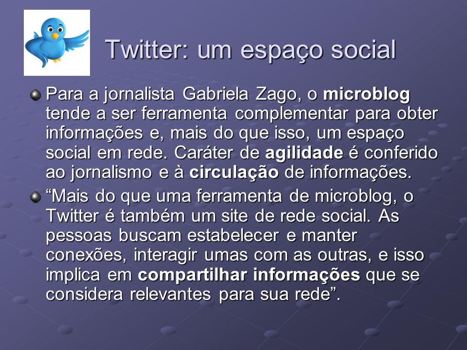 Twitter: um espaço social Para a jornalista Gabriela Zago, o microblog tende a ser ferramenta complementar para obter informações e, mais do que isso,