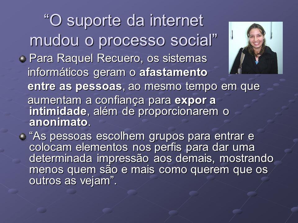 O suporte da internet mudou o processo social Para Raquel Recuero, os sistemas informáticos geram o afastamento informáticos geram o afastamento entre