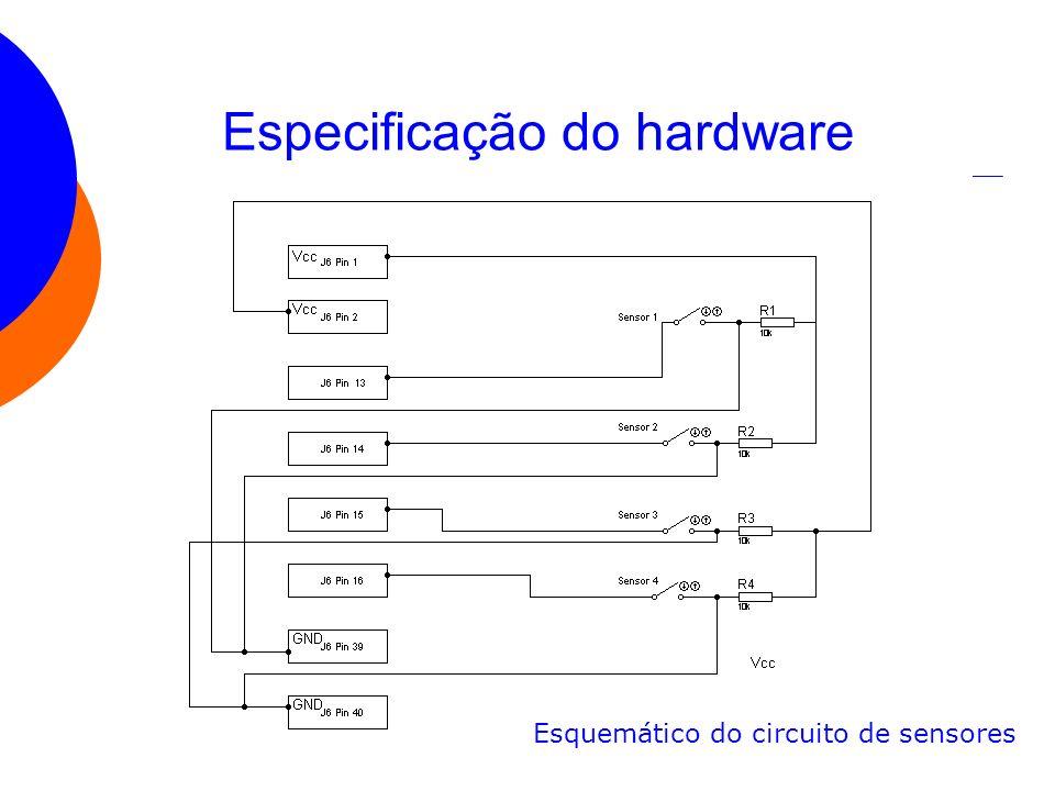 Especificação do hardware Esquemático do circuito de sensores