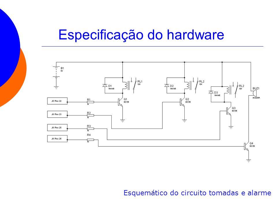 Especificação do hardware Esquemático do circuito tomadas e alarme