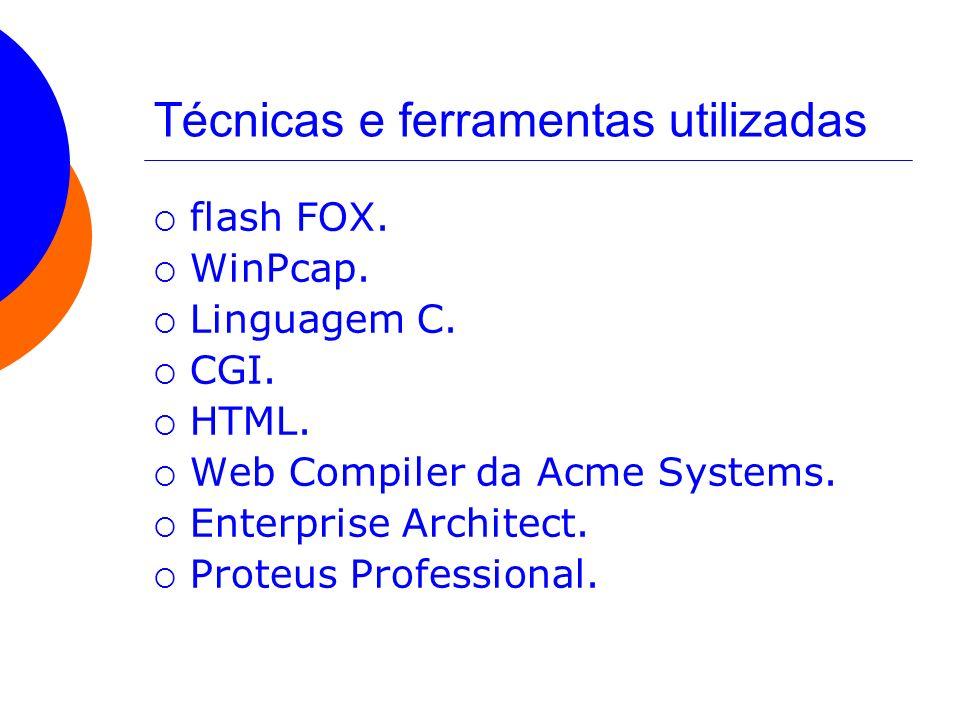 Técnicas e ferramentas utilizadas flash FOX. WinPcap. Linguagem C. CGI. HTML. Web Compiler da Acme Systems. Enterprise Architect. Proteus Professional