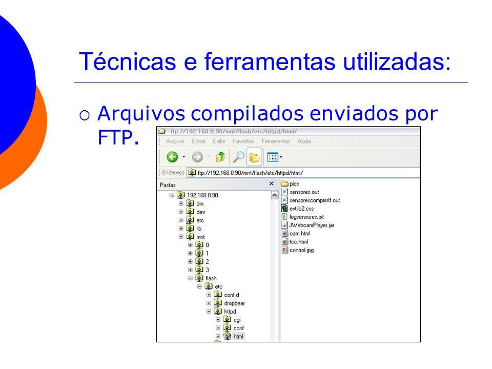 Técnicas e ferramentas utilizadas: Arquivos compilados enviados por FTP.