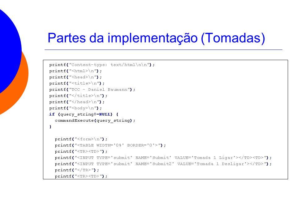 Partes da implementação (Tomadas)