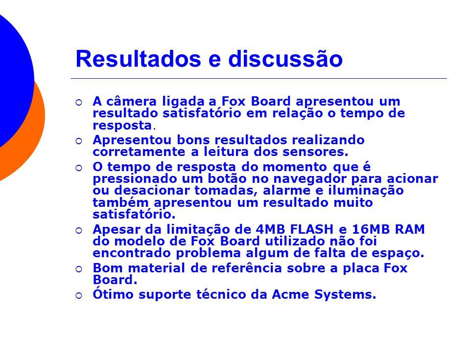 Resultados e discussão A câmera ligada a Fox Board apresentou um resultado satisfatório em relação o tempo de resposta. Apresentou bons resultados rea
