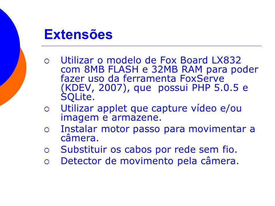 Extensões Utilizar o modelo de Fox Board LX832 com 8MB FLASH e 32MB RAM para poder fazer uso da ferramenta FoxServe (KDEV, 2007), que possui PHP 5.0.5
