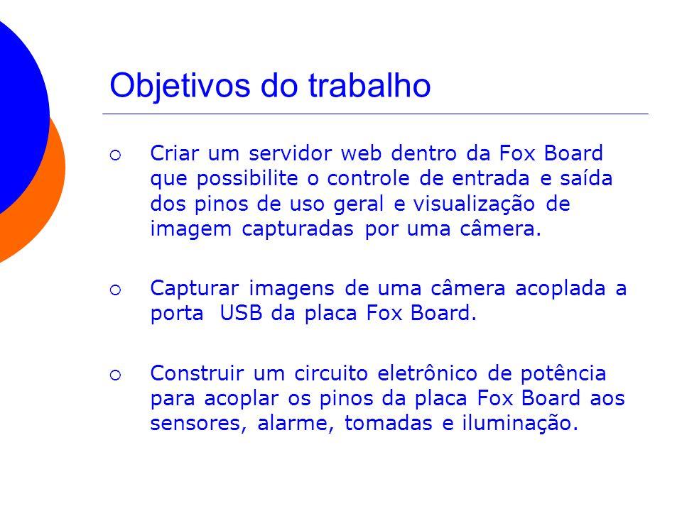 Objetivos do trabalho Criar um servidor web dentro da Fox Board que possibilite o controle de entrada e saída dos pinos de uso geral e visualização de