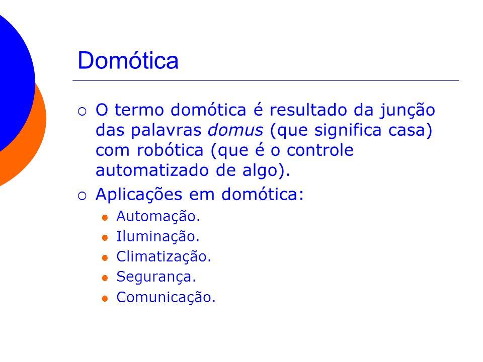 Domótica O termo domótica é resultado da junção das palavras domus (que significa casa) com robótica (que é o controle automatizado de algo). Aplicaçõ