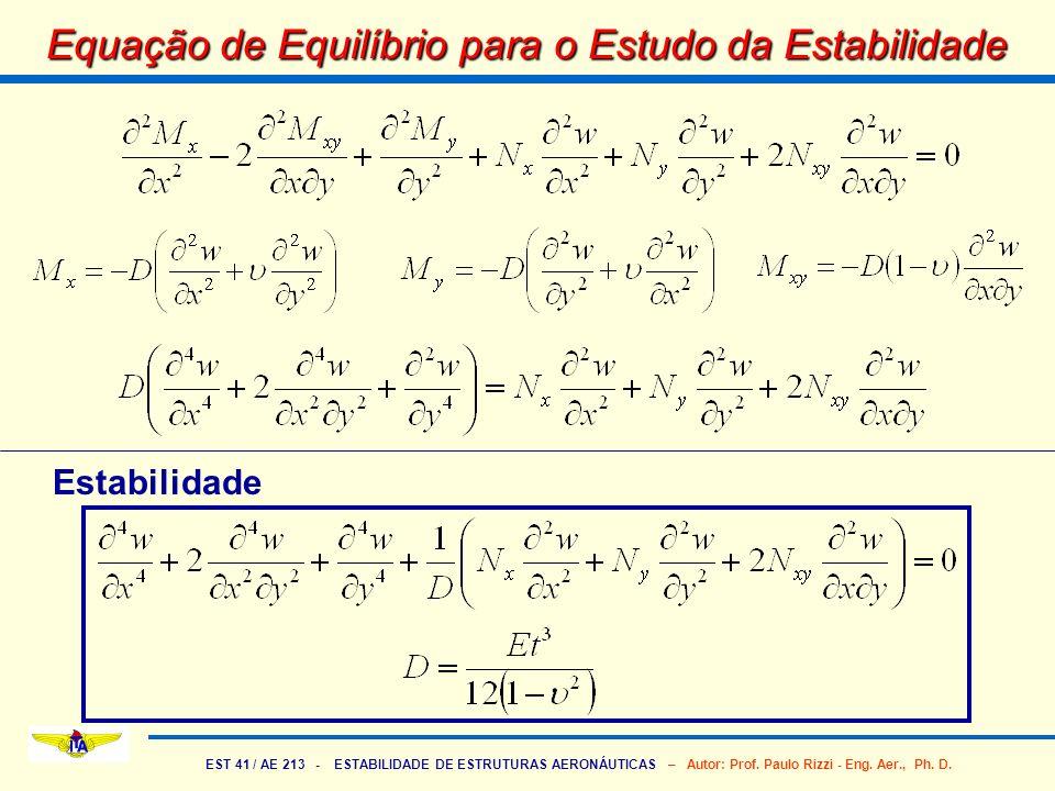 EST 41 / AE 213 - ESTABILIDADE DE ESTRUTURAS AERONÁUTICAS – Autor: Prof. Paulo Rizzi - Eng. Aer., Ph. D. Equação de Equilíbrio para o Estudo da Estabi