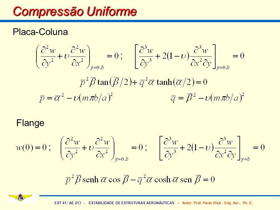 EST 41 / AE 213 - ESTABILIDADE DE ESTRUTURAS AERONÁUTICAS – Autor: Prof. Paulo Rizzi - Eng. Aer., Ph. D. Compressão Uniforme Placa-Coluna Flange