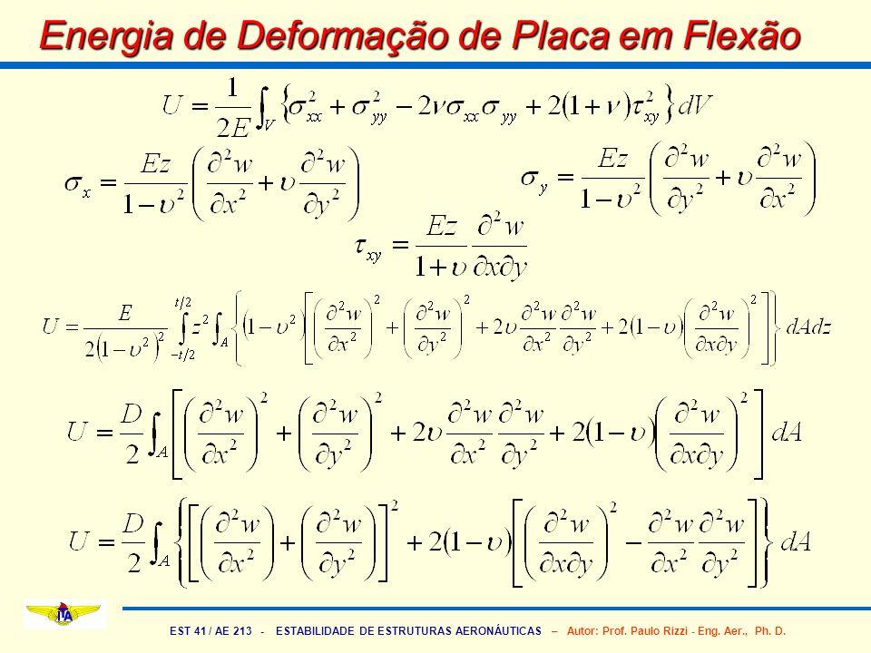 EST 41 / AE 213 - ESTABILIDADE DE ESTRUTURAS AERONÁUTICAS – Autor: Prof. Paulo Rizzi - Eng. Aer., Ph. D. Energia de Deformação de Placa em Flexão