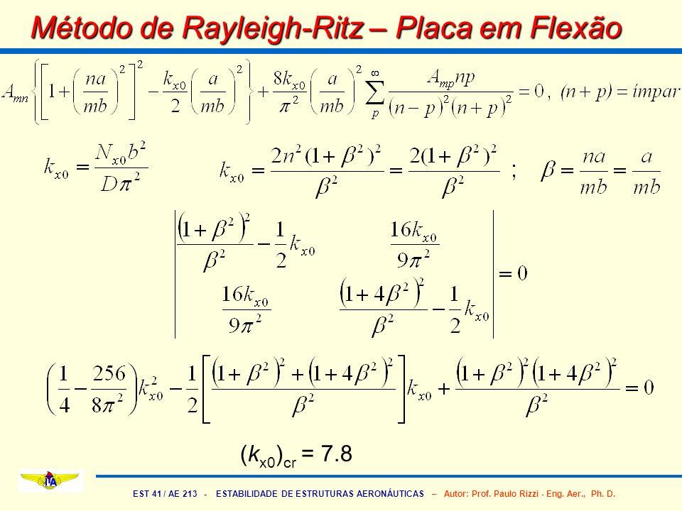 EST 41 / AE 213 - ESTABILIDADE DE ESTRUTURAS AERONÁUTICAS – Autor: Prof. Paulo Rizzi - Eng. Aer., Ph. D. Método de Rayleigh-Ritz – Placa em Flexão (k