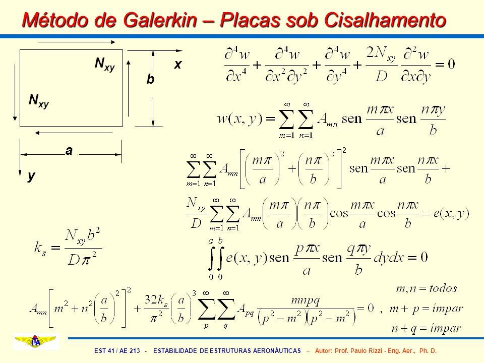 EST 41 / AE 213 - ESTABILIDADE DE ESTRUTURAS AERONÁUTICAS – Autor: Prof. Paulo Rizzi - Eng. Aer., Ph. D. Método de Galerkin – Placas sob Cisalhamento