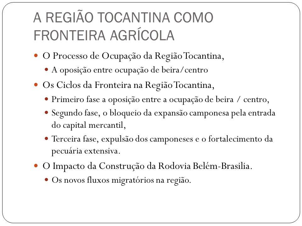 A REGIÃO TOCANTINA COMO FRONTEIRA AGRÍCOLA O Processo de Ocupação da Região Tocantina, A oposição entre ocupação de beira/centro Os Ciclos da Fronteir