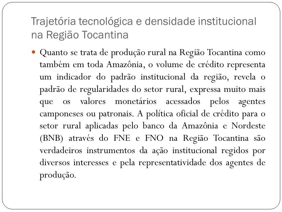 Trajetória tecnológica e densidade institucional na Região Tocantina Quanto se trata de produção rural na Região Tocantina como também em toda Amazôni