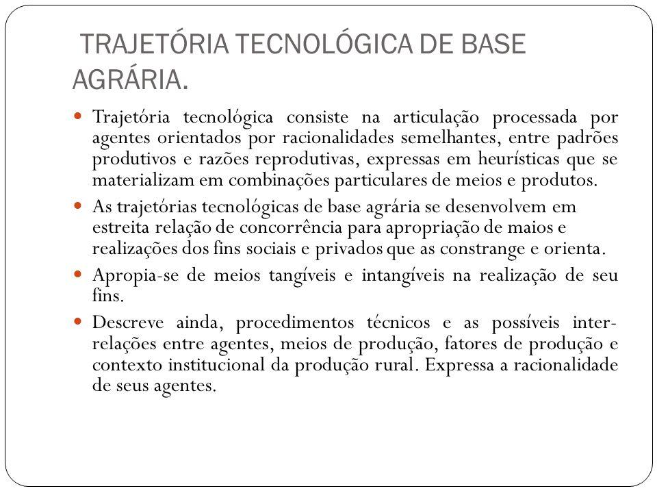 TRAJETÓRIA TECNOLÓGICA DE BASE AGRÁRIA. Trajetória tecnológica consiste na articulação processada por agentes orientados por racionalidades semelhante