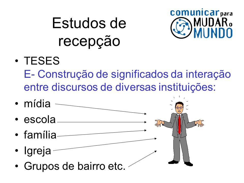 Estudos de recepção TESES E- Construção de significados da interação entre discursos de diversas instituições: mídia escola família Igreja Grupos de b