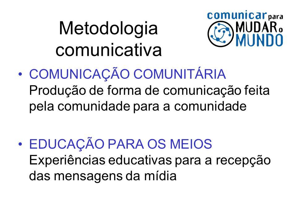Metodologia comunicativa COMUNICAÇÃO COMUNITÁRIA Produção de forma de comunicação feita pela comunidade para a comunidade EDUCAÇÃO PARA OS MEIOS Exper