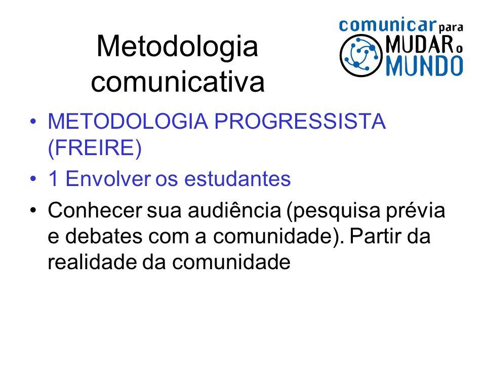 Metodologia comunicativa METODOLOGIA PROGRESSISTA (FREIRE) 1 Envolver os estudantes Conhecer sua audiência (pesquisa prévia e debates com a comunidade
