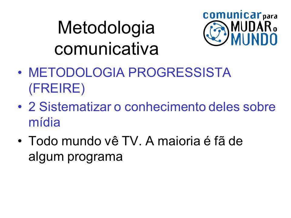 Metodologia comunicativa METODOLOGIA PROGRESSISTA (FREIRE) 2 Sistematizar o conhecimento deles sobre mídia Todo mundo vê TV. A maioria é fã de algum p