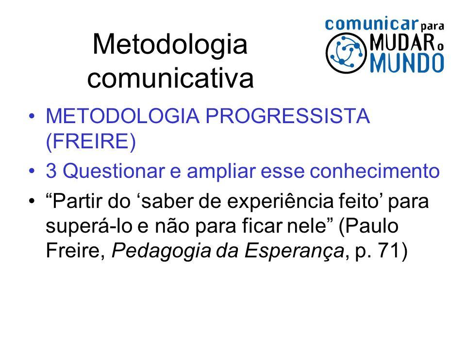 Metodologia comunicativa METODOLOGIA PROGRESSISTA (FREIRE) 3 Questionar e ampliar esse conhecimento Partir do saber de experiência feito para superá-l