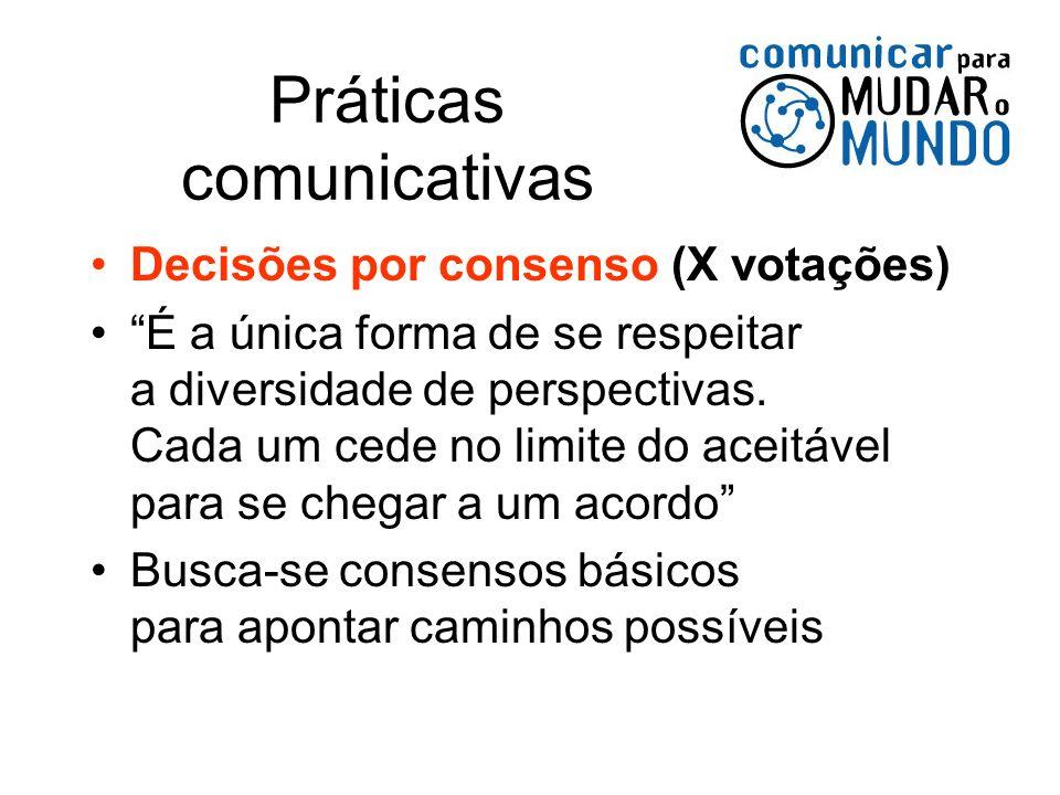 Práticas comunicativas Decisões por consenso (X votações) É a única forma de se respeitar a diversidade de perspectivas. Cada um cede no limite do ace