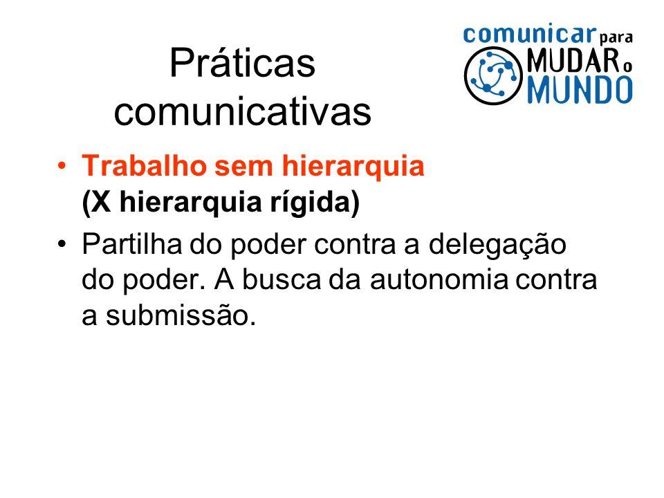 Práticas comunicativas Trabalho sem hierarquia (X hierarquia rígida) Partilha do poder contra a delegação do poder. A busca da autonomia contra a subm