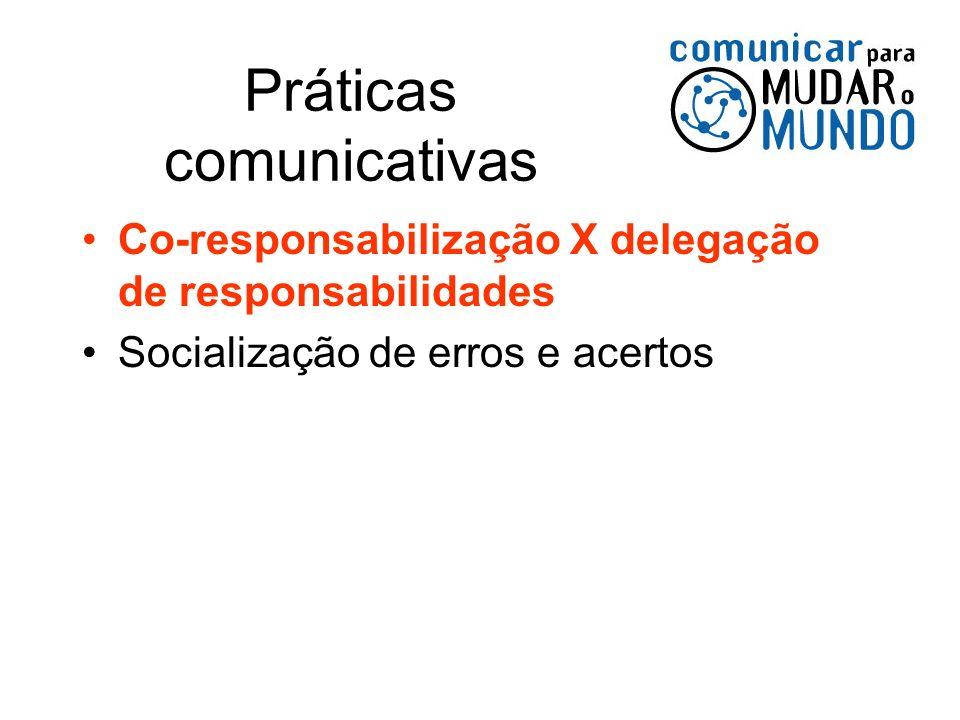 Práticas comunicativas Co-responsabilização X delegação de responsabilidades Socialização de erros e acertos